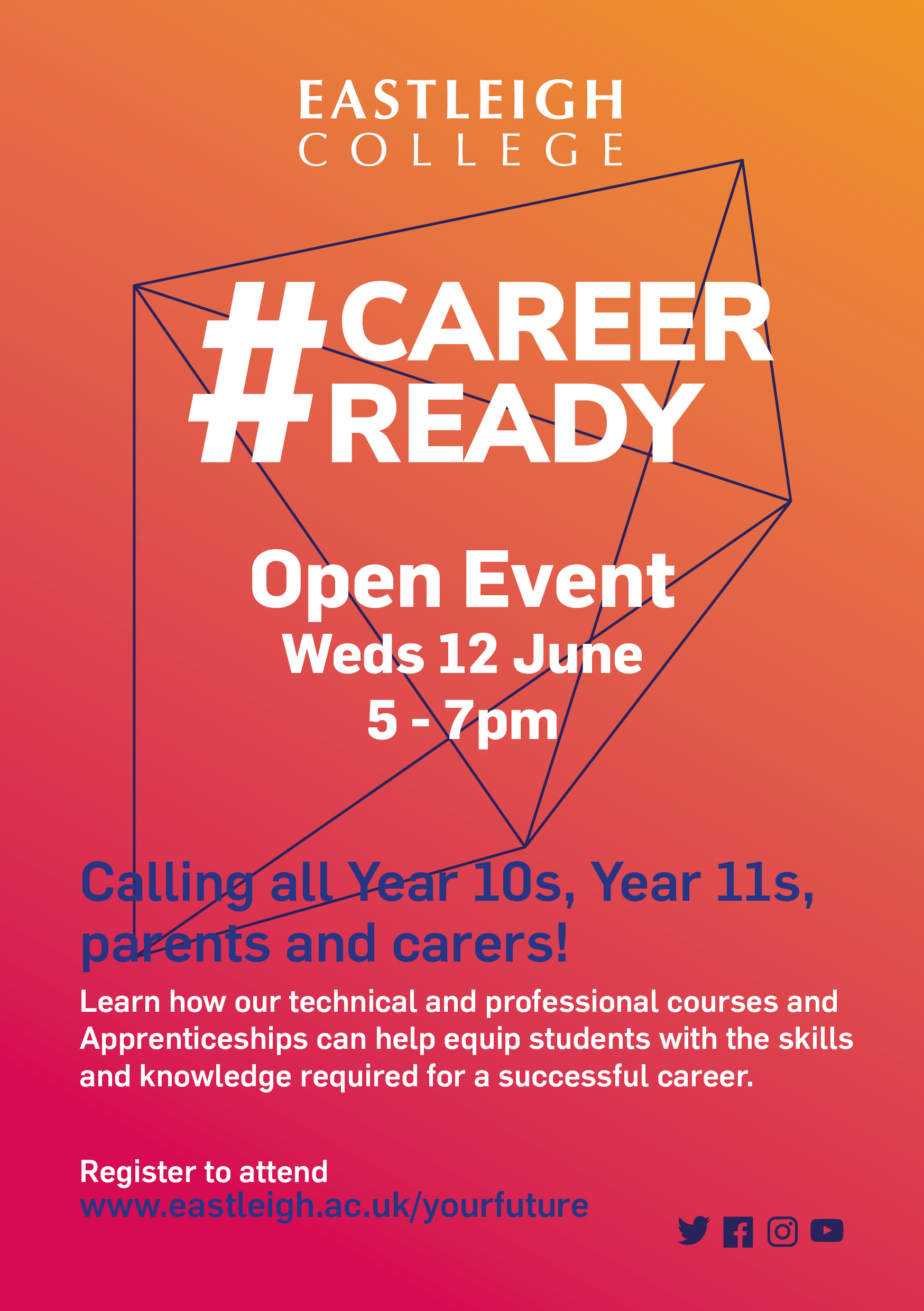 Open Event, Weds 12 June, 5-7pm · Eastleigh College