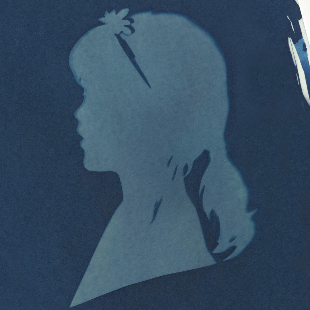 Traditional photographic portrait with cyanotype printing