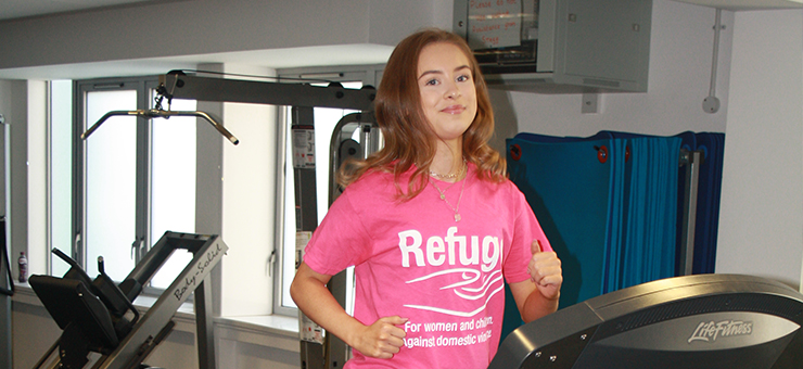 Millie training in the Eastleigh College gym