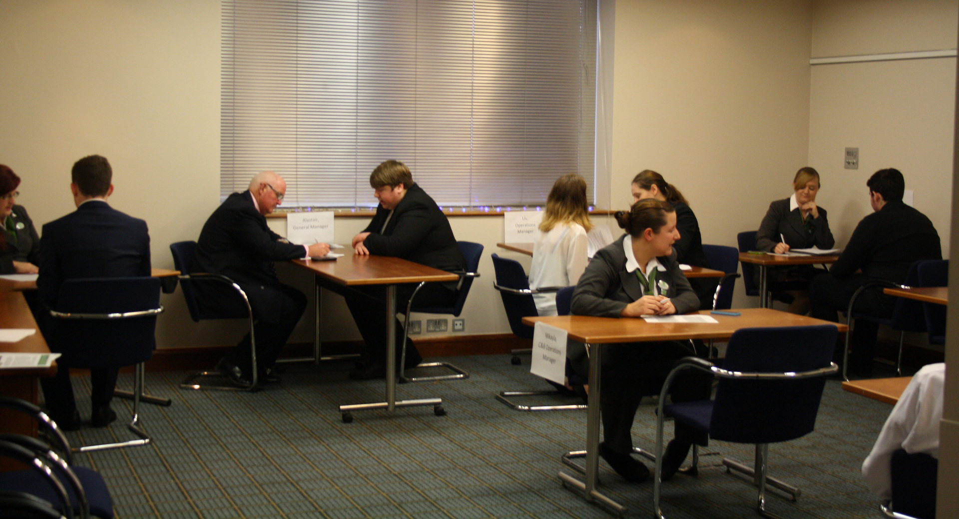 Students taking part in the interview process at the Holiday Inn, Eastleigh