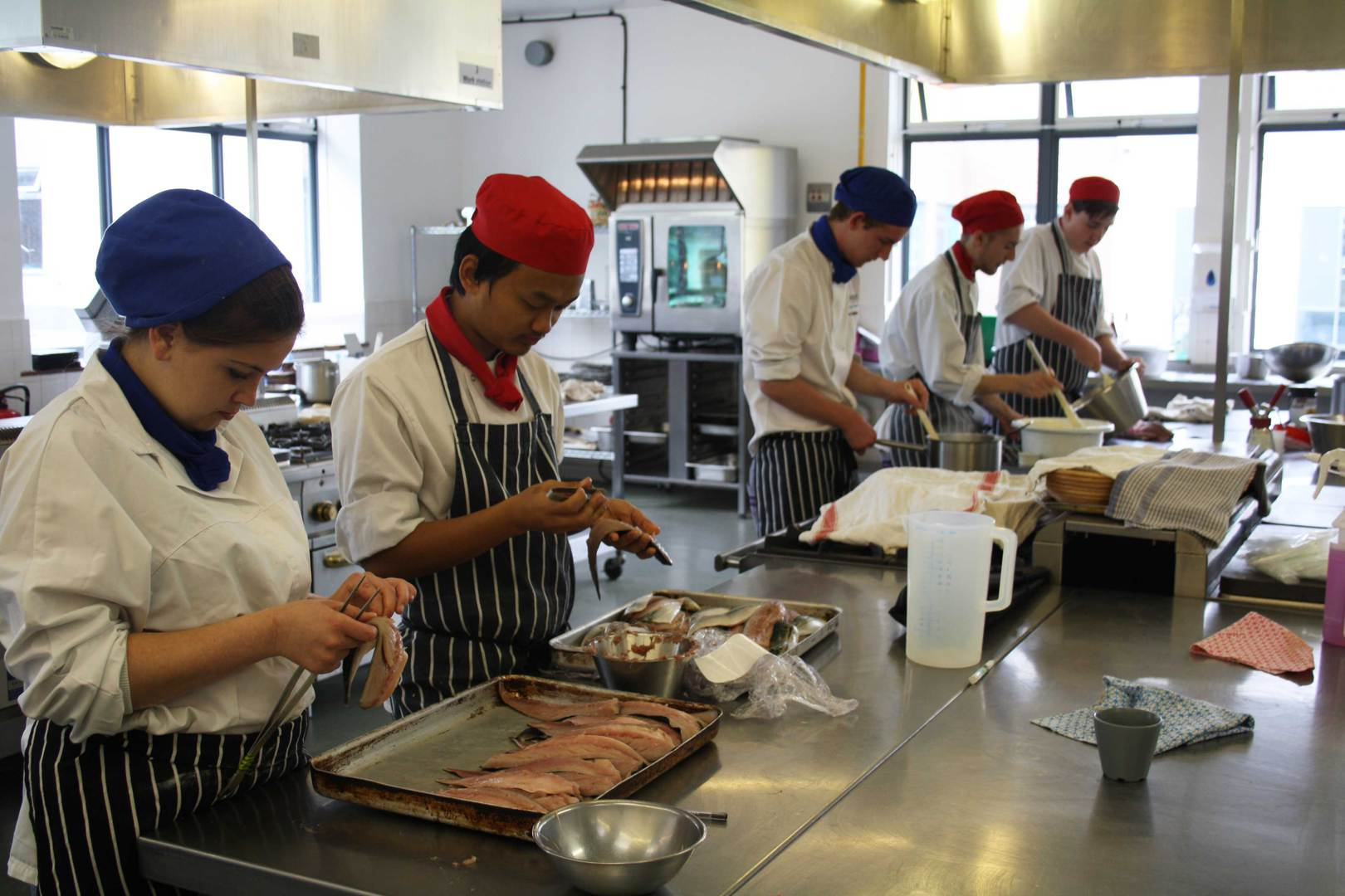 Students busy preparing the canapes