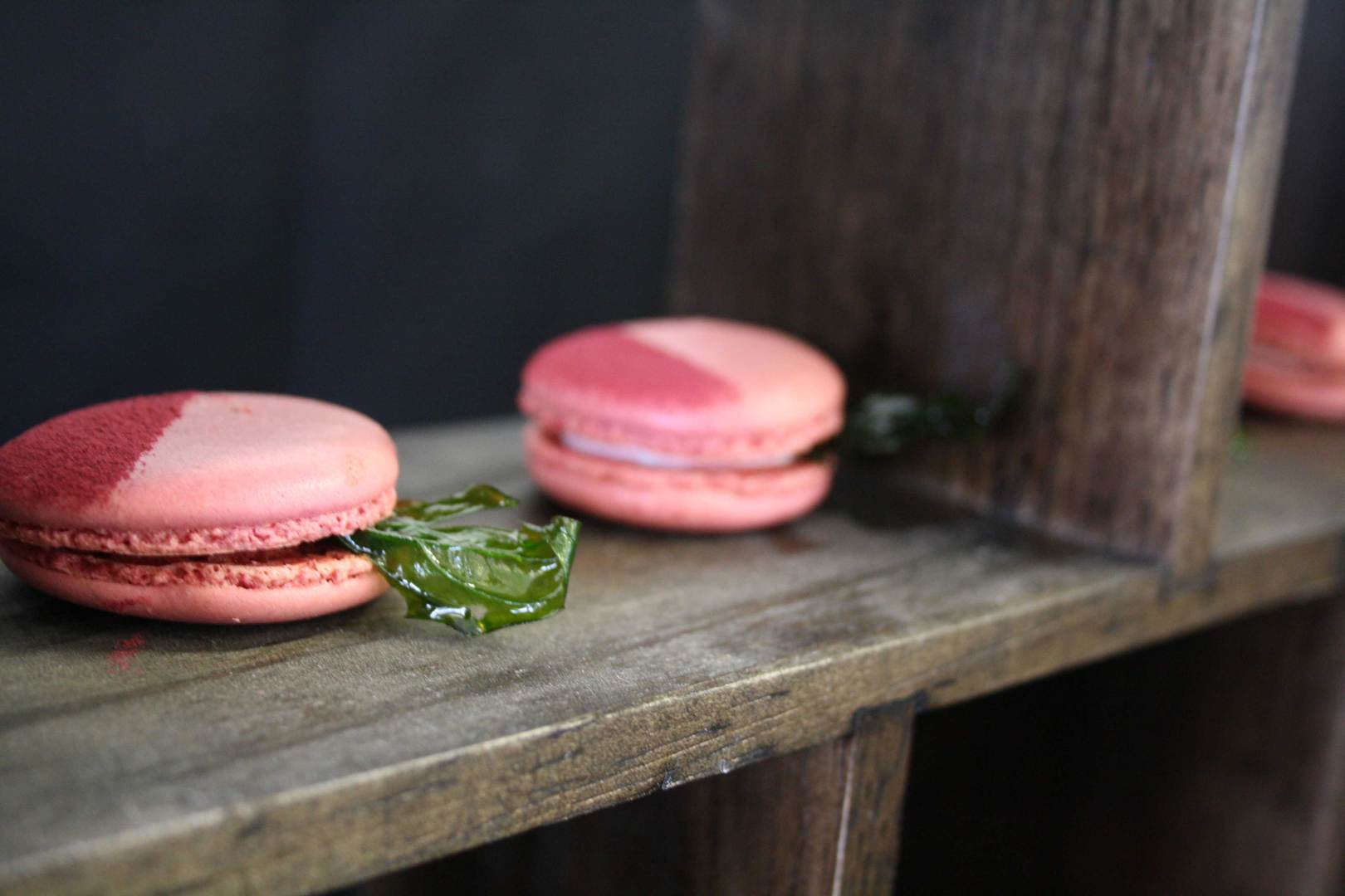 Beetroot macaron with goats cheese and basil