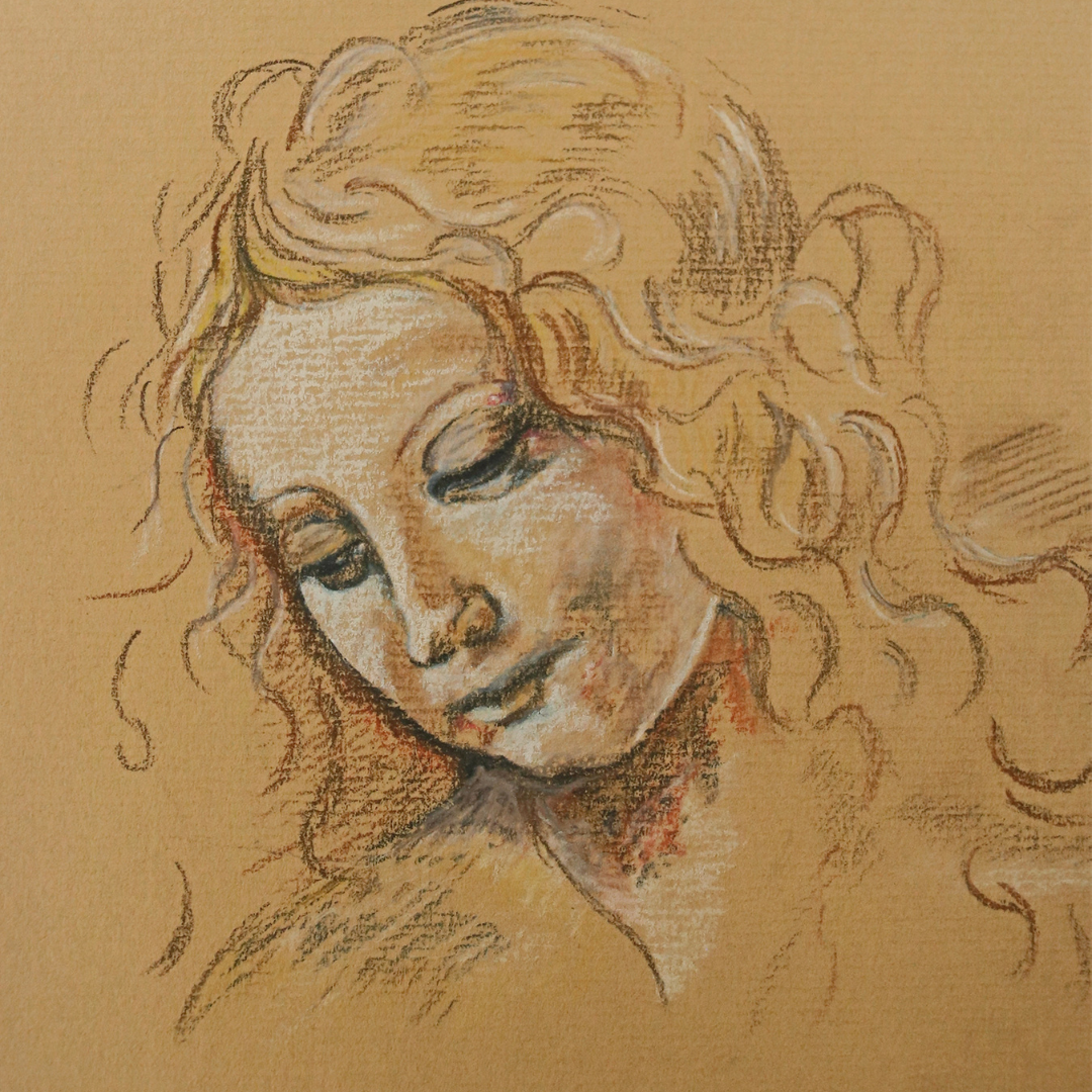Expressive figurative pastel drawing.