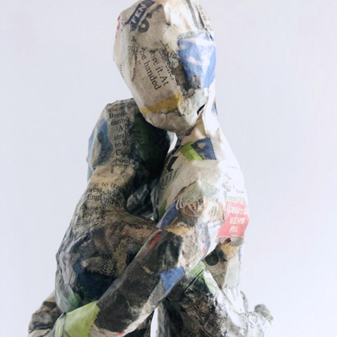 Intimate papier-mache sculpture examines human fragility